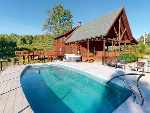 pool next to lodge